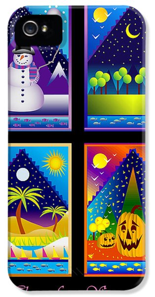 Hanukkah Card iPhone 5 Cases - The Four Seasons iPhone 5 Case by Nancy Griswold