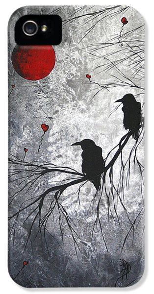 Whimsy iPhone 5 Cases - Original Abstract Surreal Raven Red Blood Moon Painting The Overseers by MADART iPhone 5 Case by Megan Duncanson