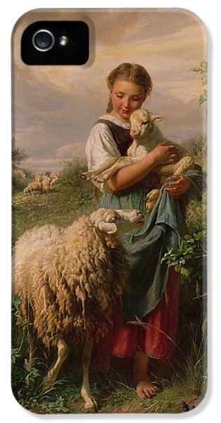 Ewe iPhone 5 Cases - The Shepherdess iPhone 5 Case by Johann Baptist Hofner