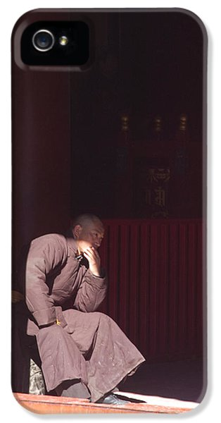 People iPhone 5 Cases - Thinking Monk iPhone 5 Case by Sebastian Musial