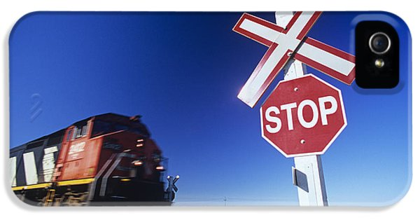Colour Image iPhone 5 Cases - Train Passing Railway Crossing iPhone 5 Case by Dave Reede