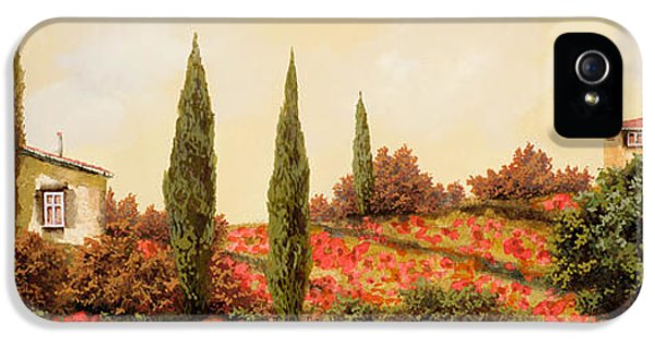 Outdoors iPhone 5 Cases - Tre Case Tra I Papaveri iPhone 5 Case by Guido Borelli