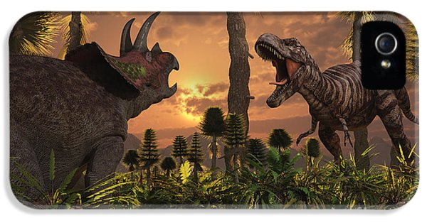 Roaming iPhone 5 Cases - Tyrannosaurus Rex And Triceratops Meet iPhone 5 Case by Mark Stevenson
