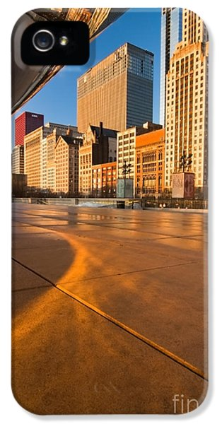Michgan Avenue iPhone 5 Cases - Under the bean and Chicago skyline at sunrise iPhone 5 Case by Sven Brogren