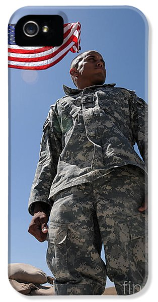 Security iPhone 5 Cases - U.s. Army Soldier Taking In The Sun iPhone 5 Case by Stocktrek Images