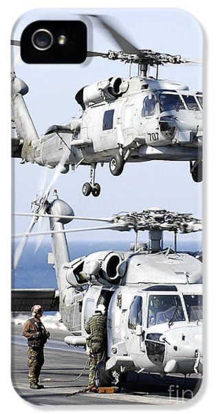 Prepper iPhone 5 Cases - U.s. Navy Seahawk Helicopter Lifting iPhone 5 Case by Stocktrek Images