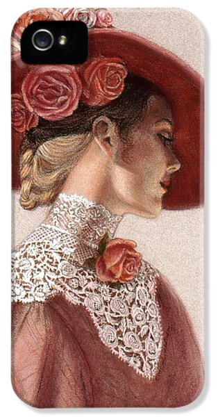 Roses iPhone 5 Cases - Victorian Lady in a Rose Hat iPhone 5 Case by Sue Halstenberg