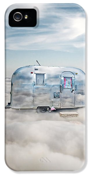 Trailer iPhone 5 Cases - Vintage Camping Trailer in the Clouds iPhone 5 Case by Jill Battaglia