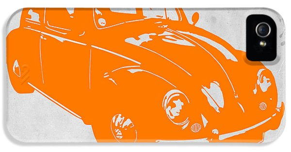 Muscle Car iPhone 5 Cases - VW Beetle Orange iPhone 5 Case by Naxart Studio