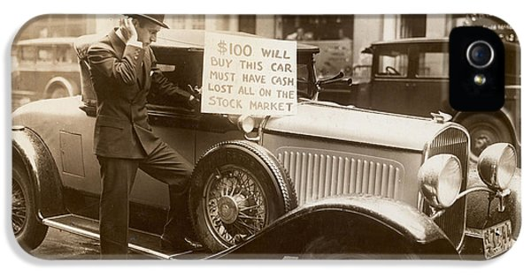 1929 Roadster iPhone 5 Cases - Wall Street Crash, 1929 iPhone 5 Case by Granger