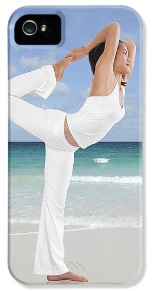 Human Body iPhone 5 Cases - Woman doing yoga on the beach iPhone 5 Case by Setsiri Silapasuwanchai