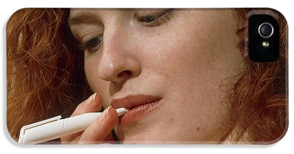 Nicotine iPhone 5 Cases - Woman Uses A Nicorette Nicotine Drug Inhaler iPhone 5 Case by Damien Lovegrove