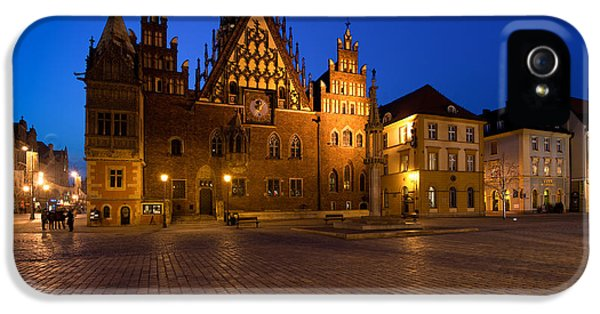 Photography iPhone 5 Cases - Wroclaw Town Hall At Night iPhone 5 Case by Sebastian Musial