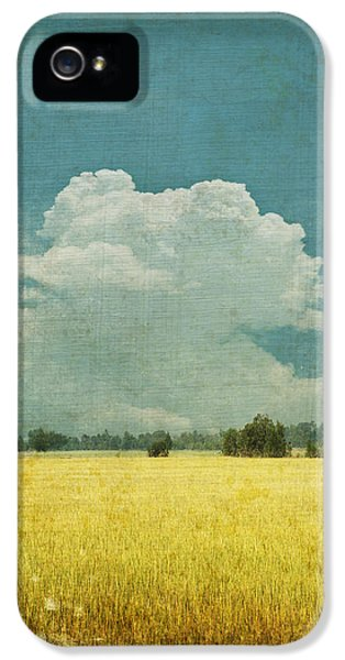 Field iPhone 5 Cases - Yellow field on old grunge paper iPhone 5 Case by Setsiri Silapasuwanchai