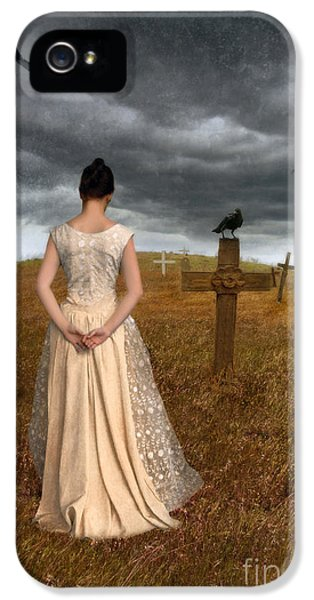 Circling iPhone 5 Cases - Young Woman Grieving by Grave iPhone 5 Case by Jill Battaglia