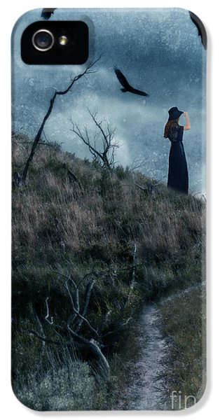 Circling iPhone 5 Cases - Young Woman on Creepy Path with Black Birds Overhead iPhone 5 Case by Jill Battaglia