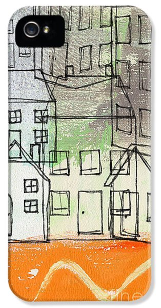 Sketch iPhone 5 Cases -  Houses By The River iPhone 5 Case by Linda Woods