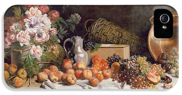 Still Life With Flowers And Fruit On A Table IPhone 5 / 5s Case by Alfred Petit