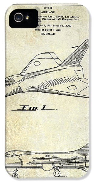 Mcdonnell Douglas iPhone 5 Cases - 1956 Jet Airplane Patent 2 Blue iPhone 5 Case by Jon Neidert