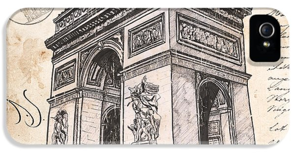 Blueprint iPhone 5 Cases - Arc de Triomphe iPhone 5 Case by Debbie DeWitt