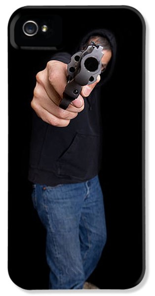 Thriller iPhone 5 Cases - Gun Man iPhone 5 Case by Edward Fielding