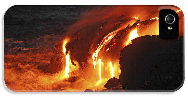 No People iPhone 5 Cases - Kilauea Lava Flow Sea Entry, Big iPhone 5 Case by Martin Rietze