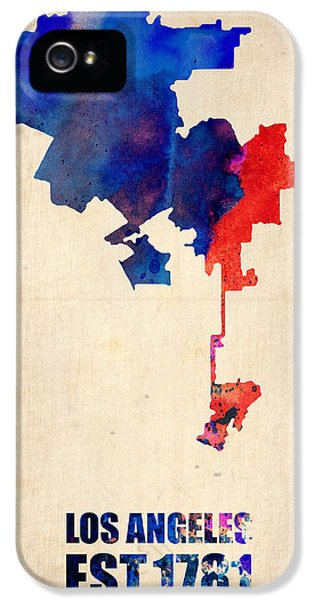 California iPhone 5 Cases - Los Angeles Watercolor Map 1 iPhone 5 Case by Naxart Studio