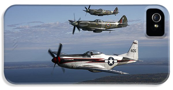 Air Force One iPhone 5 Cases - P-51 Cavalier Mustang With Supermarine iPhone 5 Case by Daniel Karlsson