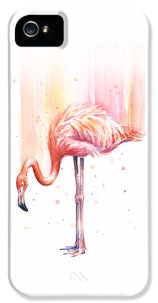Pink Flamingo Watercolor Rain IPhone 5 / 5s Case by Olga Shvartsur