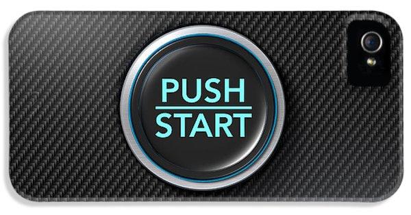 Fibre iPhone 5 Cases - Push To Start Carbon Fibre Button iPhone 5 Case by Allan Swart