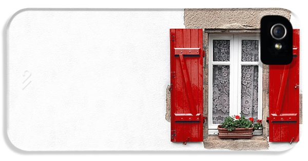 Red Shuttered Window On White IPhone 5 / 5s Case by Jane Rix