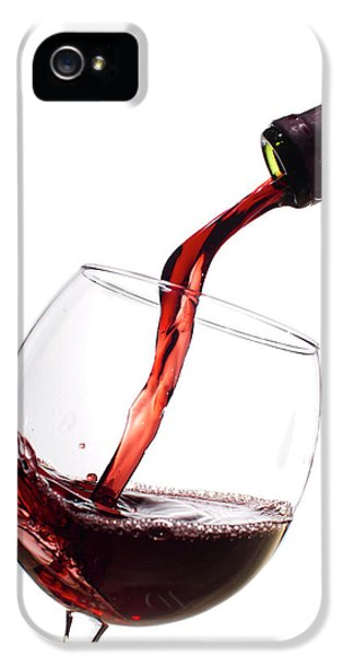 Glass iPhone 5 Cases - Red Wine Poured into Wineglass iPhone 5 Case by Dustin K Ryan