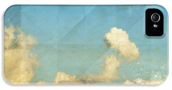 Blank iPhone 5 Cases - Sky And Cloud On Old Grunge Paper iPhone 5 Case by Setsiri Silapasuwanchai