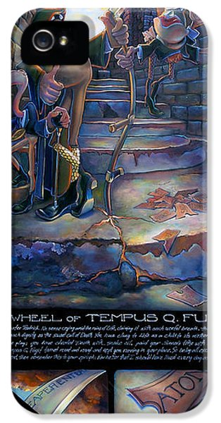 Grim Reaper iPhone 5 Cases - The Wheel of Tempus Q. Fugit iPhone 5 Case by Patrick Anthony Pierson