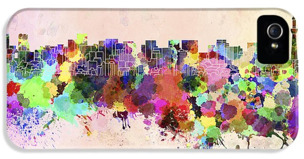 Tokyo Skyline In Watercolor Background IPhone 5 / 5s Case by Pablo Romero