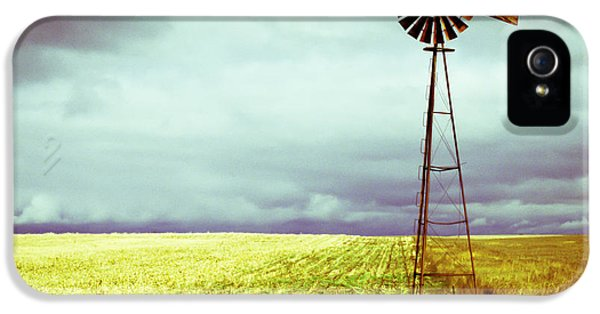 Storm iPhone 5 Cases - Windmill Against Autumn Sky iPhone 5 Case by Gordon Wood