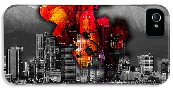 Los Angeles Map And Skyline IPhone 5 / 5s Case by Marvin Blaine