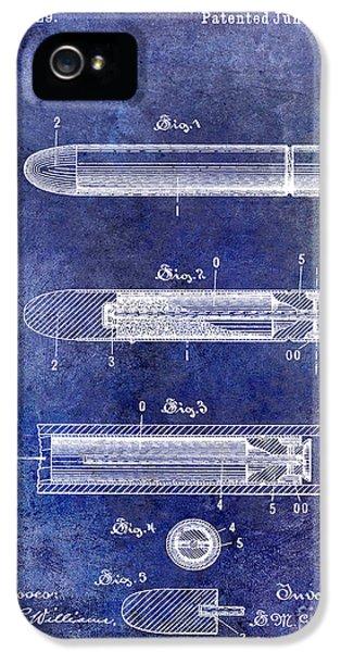 Ammunition iPhone 5 Cases - 1890 Cartridge Patent Blue iPhone 5 Case by Jon Neidert