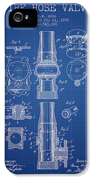 Hose iPhone 5 Cases - 1895 Fire Hose Valve Patent - Blueprint iPhone 5 Case by Aged Pixel