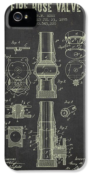Hose iPhone 5 Cases - 1895 Fire Hose Valve Patent- Dark Grunge iPhone 5 Case by Aged Pixel
