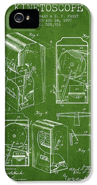 Motion Picture iPhone 5 Cases - 1897 Kinetoscope Patent - Green iPhone 5 Case by Aged Pixel