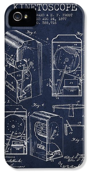 Motion Picture iPhone 5 Cases - 1897 Kinetoscope Patent - Navy Blue iPhone 5 Case by Aged Pixel