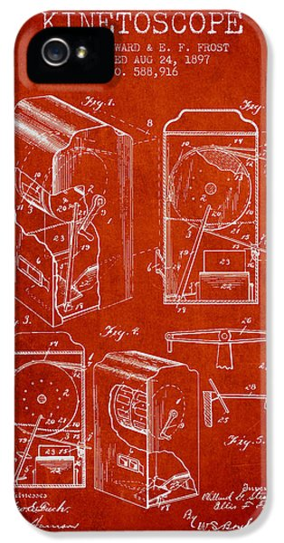 Motion Picture iPhone 5 Cases - 1897 Kinetoscope Patent - red iPhone 5 Case by Aged Pixel