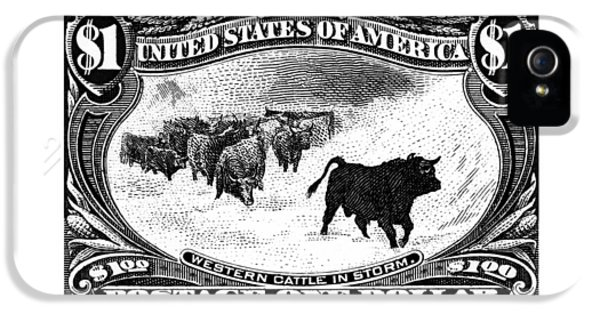 1898 Western Cattle In Storm Stamp IPhone 5 / 5s Case by Historic Image