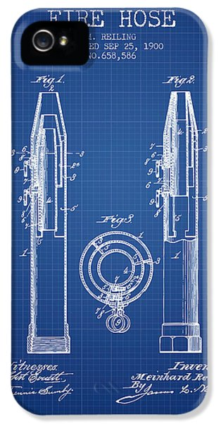 Hose iPhone 5 Cases - 1900 Fire Hose Patent - blueprint iPhone 5 Case by Aged Pixel