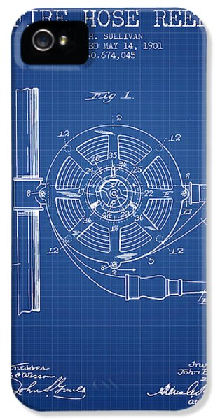 Hose iPhone 5 Cases - 1901 Fire Hose Reel Patent - blueprint iPhone 5 Case by Aged Pixel