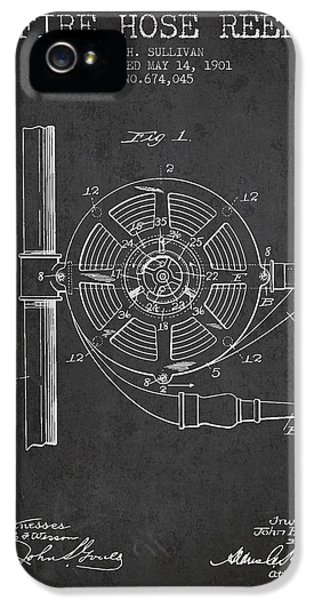 Hose iPhone 5 Cases - 1901 Fire Hose Reel Patent - charcoal iPhone 5 Case by Aged Pixel