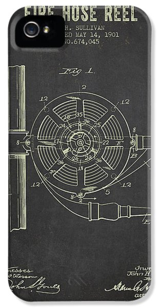 Hose iPhone 5 Cases - 1901 Fire Hose Reel Patent- Dark Grunge iPhone 5 Case by Aged Pixel