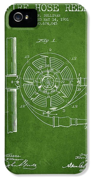 Hose iPhone 5 Cases - 1901 Fire Hose Reel Patent - green iPhone 5 Case by Aged Pixel