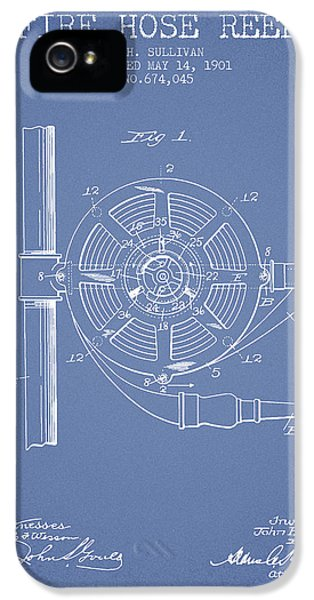 Hose iPhone 5 Cases - 1901 Fire Hose Reel Patent - light blue iPhone 5 Case by Aged Pixel